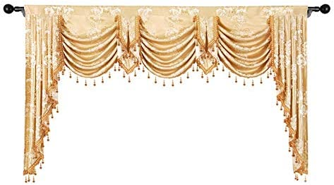 Peony Jacquard Waterfall Blackout Curtain Valance with Beads Lace Villa Luxury Floral Curtain Drapes Rod Pocket Top Window Treatment Valance Swag for Living Room 1 Panel W98 Inch