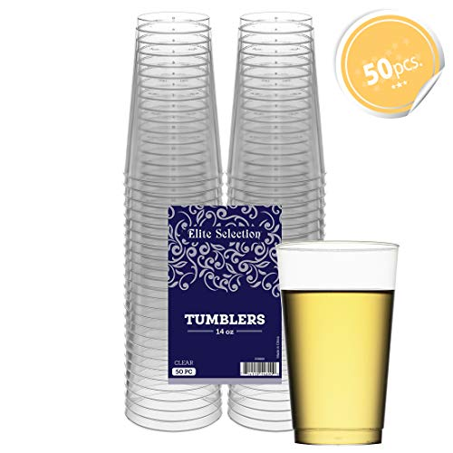 Clear Disposable Plastic Cups 14 Oz. Pack Of (50) Fancy Hard Plastic Cups - Party Accessories - Wedding - Cocktails- ()