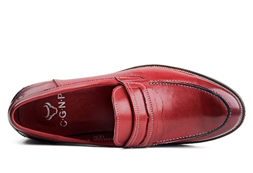 Round Shoes Leather Men's Red Loafer Toe Insun ZCPqExwzW