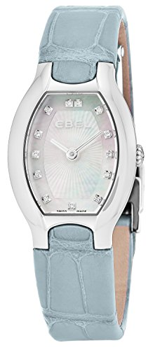 Ebel Beluga Tonneau Womens Mother-of-Pearl Face Diamond Light Grey Leather Strap Swiss Quartz Watch 1216209