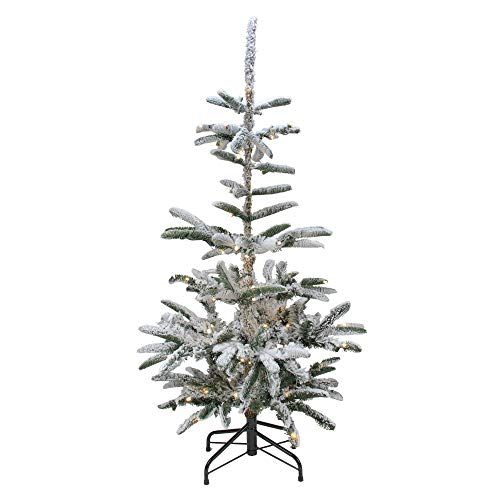 Northlight Pre-Lit Noble Fir Artificial Flocked Christmas Tree-Warm Clear LED Lights, 4.5', Green ()