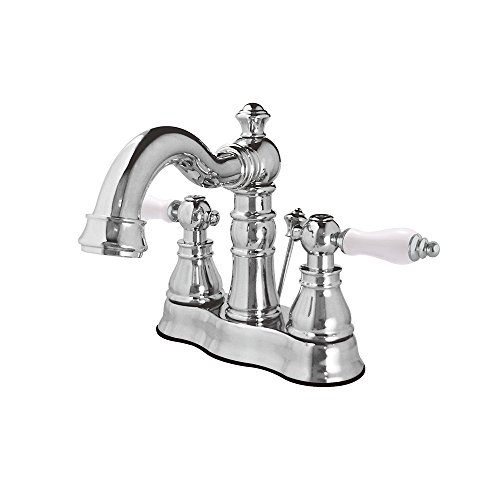 Kingston Brass FS1601APL 4 inch Two Handle Centerset Lavatory Faucet with L Spout Ceramic Cartridge Lever Handle with 50/50 Pop Up, Polished Chrome