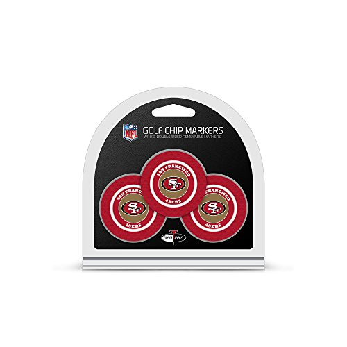 Team Golf NFL San Francisco 49ers Golf Chip Ball Markers (3 Count), Poker Chip Size with Pop Out Smaller Double-Sided Enamel Markers
