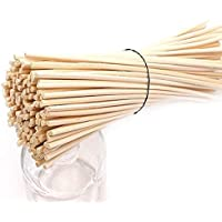LOVSPA Set of 80 Reed Diffuser Sticks - Wood Rattan-Reed Sticks for Diffuser Glass Bottles-Diffuser Refills- Spa-Aromatherapy, 10 Bundles of 8 with Ribbon (8 inch)