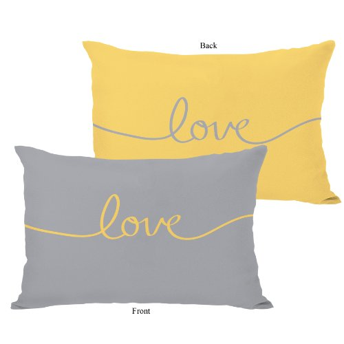 """One Bella Casa Love Mix & Match Throw Pillow by OBC, 14""""x 20"""", Mimosa/Gray from One Bella Casa"""