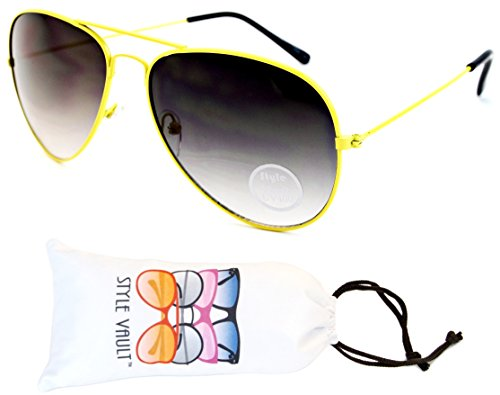 A129-vp Style Vault Aviator Metal Sunglasses (N2256D Yellow-Smoked, - Aviator Neon Sunglasses