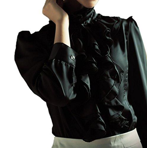 Jabot Longues CSW0033 Blouse Droit TM Femmes en Noir pour Chemisier Col Manches Rtro Dentelle Nanxson TaOAWvnA