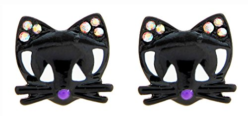 DaisyJewel Good Fortune Black Cat Stud Earrings