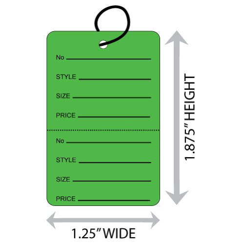 "Small (1.25"" X 1.875"") Green Coupon Merchandise Tag with Perforation and String. Case of 2,000 Tags. - Green Coupon Merchandise Tag"