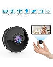 Mini WLAN Kamera Überwachungskamera Wireless Full HD 1080P mit 6 Infrarot-Licht Nachtsicht Bewegungserkennung App Fernbedienung 150° Weitwinkel unterstützt 128GB SD-Karte für Heim- und Bürosicherheit