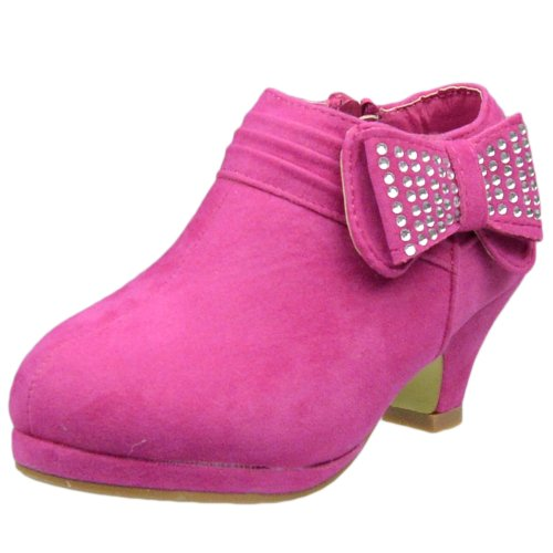 Kids Ankle Boots Rhinestone Embellished Bow High Heel Booties Pink SZ 10