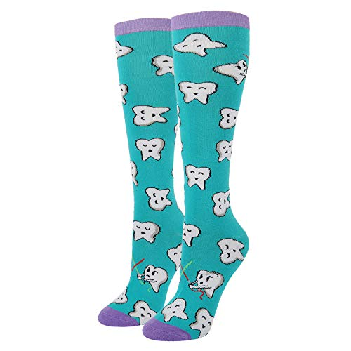 Women's Novelty Crazy Over Calf Knee High Dental Socks Funny Happy Teeth Patterned Socks, Dentist Gift ()