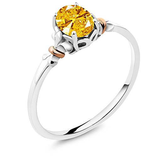 Golden Ring Swarovski (925 Sterling Silver and 10K Rose Gold Ring Made with Golden Yellow Swarovski Zirconia 0.76 cttw (Size 8))