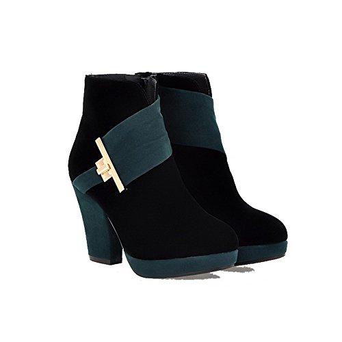 AllhqFashion Damen Gemischte Farbe Reißverschluss Hoher Absatz Stiefel mit Metallisch Aquamarin