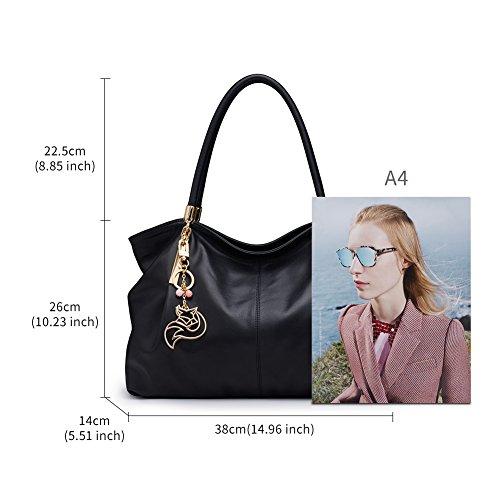Tote FOXER Handle Handbag Purse Women Genuine Satchel Leather Shoulder Bag Black3 Top I0aw0r