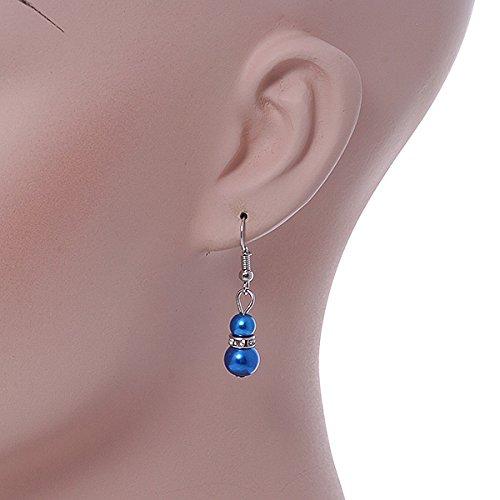 Collar de Cuentas de Cristal Azul el/éctrico de 5 mm Pulsera Flexible y Pendientes de Gota Avalaya Chapado en Plata 7 mm 42 cm de Largo y 5 cm de Largo
