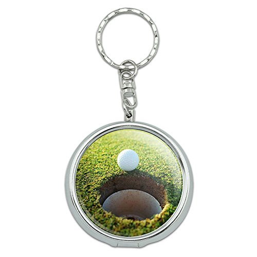 Graphics and More Portable Travel Size Pocket Purse Ashtray Keychain Golf Golfing Golfer - Golf Ball and Hole - - Golfer Keychain