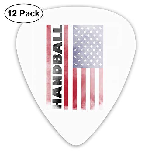 Unique Designs Guitar Picks - USA Flag Handball Sports Guitar Picks -Premium Music Gifts & Guitar Accessories For Him-12 Pack