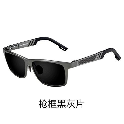conducción polarizados sol Hombre plateado ojos tendencias Marco Gafas anteojos Frame Gun gafas del negra ceniza de Ash vehículo de sol conductor Black KOMNY de de personalidad XAp88