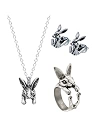 3D Rabbit Adjustable Rings Stud Earrings Realistic Animal Earrings Unique Bunny Vintage Adjustable Rings Necklace Jewelry Sets Girls Silver