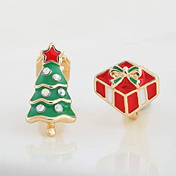Caja De Regalo De Navidad Oreja Clavo Árbol De Navidad Clip De Oreja Pendientes Falsos: Amazon.es: Hogar