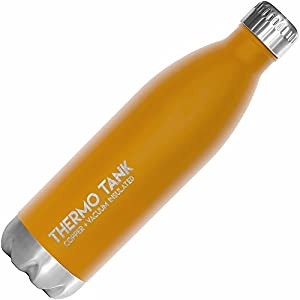 Thermo Tank Insulated Stainless Steel Water Bottle - Ice Cold 36 Hours! Vacuum + Copper Technology - 25 Ounce (Sunrise Orange, 25oz)