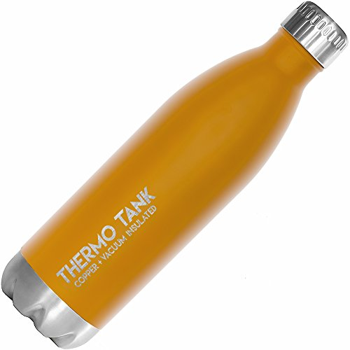 (Thermo Tank Insulated Stainless Steel Water Bottle - Ice Cold 36 Hours! Vacuum + Copper Technology - 25 Ounce (Sunrise Orange, 25oz))