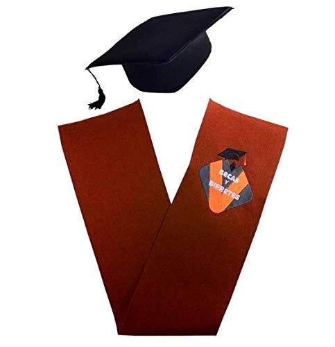Tiltextil Pack 6 Becas (bandas) y 6 Birretes de graduación para adulto unisex. Beca con emblema personalizable y varios colores