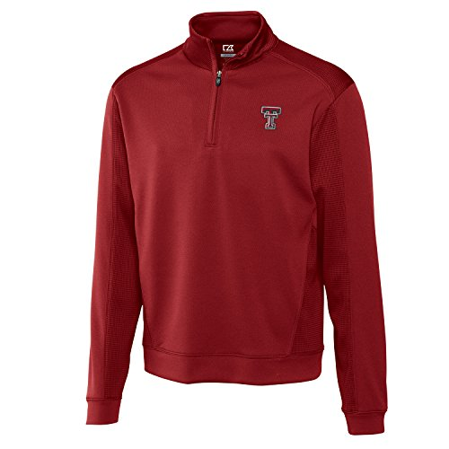 Cutter & Buck NCAA Texas Tech Red Raiders Men's Edge Half Zip Tee, Cardinal Red, XX-Large