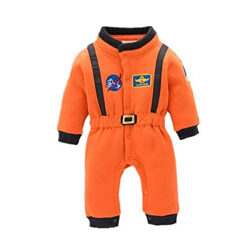 Cimaya Baby Infant Jumpsuit Astronaut Onesie Toddler Boys Girls Flight Romper Halloween Costume 12-18Months Orange -