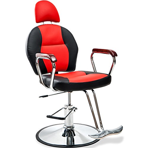Price comparison product image Merax Reclining Hydraulic Barber Chair Styling Salon Beauty Shampoo Spa Equipment (Black.Red)