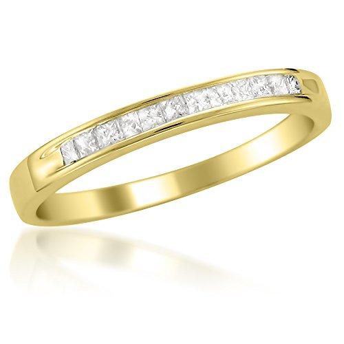 14k Yellow Gold Princess cut Diamond Bridal Wedding Band Ring (1/4 cttw, I J, I2 I3)