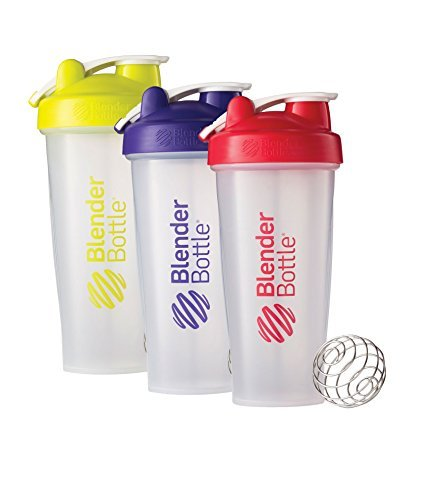 28 Oz. Hook Style Blender Bottle W/ Shaker Bundle-Clear Green/Purple/Red