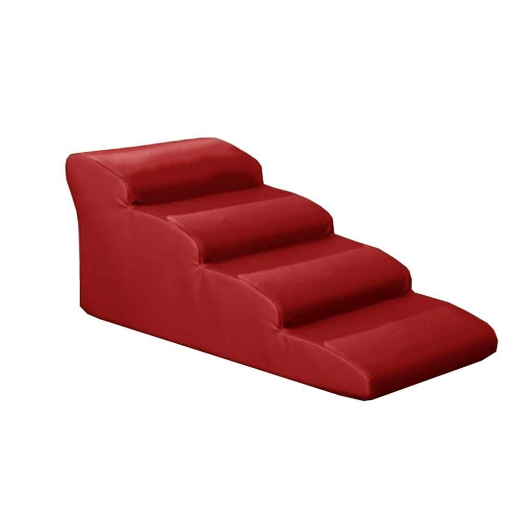 Red 4 Step Red 4 Step Pet Stairs Large Pet Ramp Dog Stair Kitten Steps for High Bed and Tall Sofa, Waterproof PU (color   Red, Size   4 Step)