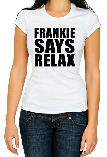 Says Frankie Relax Costume (Frankie SAY Relax Woman 80's fancy dress party slogan gift costume music Woman High Quality Top T Shirt 3/4 Sleeve Cotton Crew Neck)