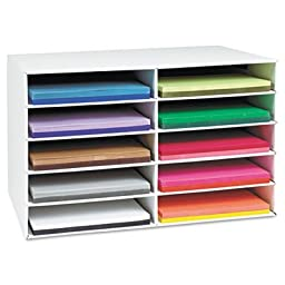 Pacon Classroom Keepers Construction Paper Storage for 12 x 18 inch Paper, 10 Slots (001316)