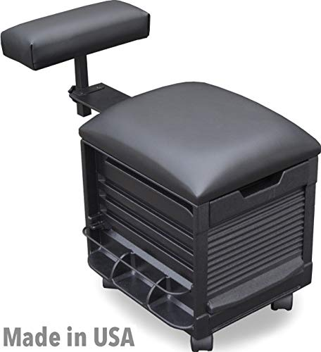 (2316 HF Salon Spa Pedicure Unit Nail Stool, Seat w/Adjustable footrest Made in USA by Dina Meri)