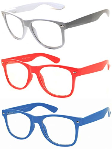 [Classic Vintage Retro 80s Sunglasses Clear lens (.Blue White Red Clear)] (80s Male Fashion)