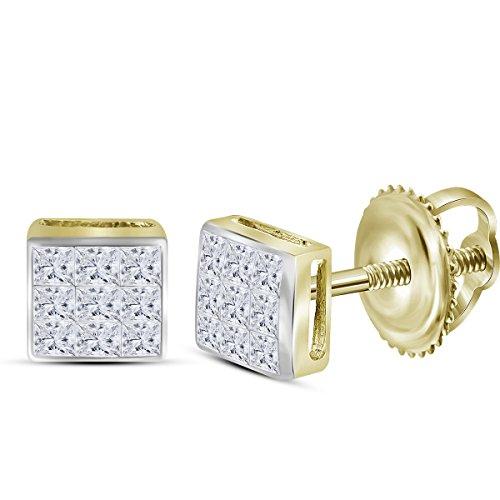 Roy Rose Jewelry 14K Yellow Gold Womens Princess Diamond Square Cluster Stud Earrings 1/4-Carat tw
