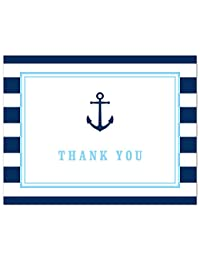 50 Cnt Navy Stripes Blue Border Nautical Boy Baby Shower Thank You Cards BOBEBE Online Baby Store From New York to Miami and Los Angeles