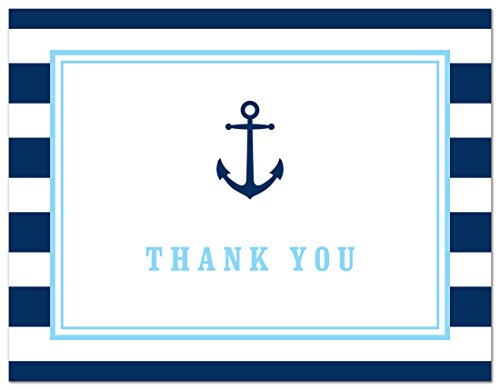 50 Cnt Navy Stripes Blue Border Nautical Boy Baby Shower Thank You (Baby Shower Borders)