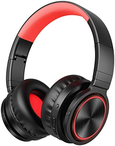 VERORAS Wireless Bluetooth Headphones Over Ear, Foldable Hi-fi Stereo Headset with Soft Memory-Protein Earmuffs, Mic, Deep Bass, Wired Wireless TF Mode for PC Cell Phones TV Black-Red