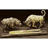 Wall Street -Bronze Sculpture Bull and Bear -Double Pen Holder