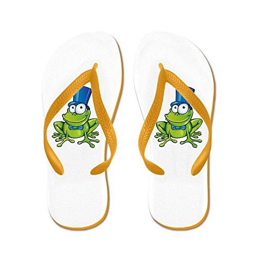 Truly Teague Mens Frog with Top Hat Rubber Flip Flops Sandals Orange BblkS9