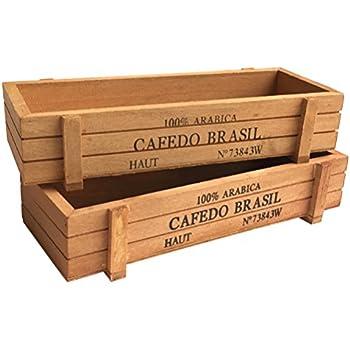 """Vtete 2 Pcs 8 7"""" Wood Succulent Planter Plant Container Box Rectangular Flower Bed Pot"""