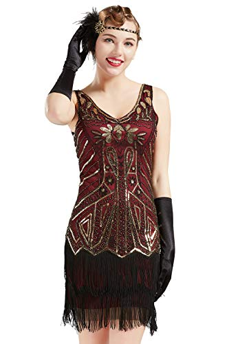 BABEYOND Women's Flapper Dresses 1920s V Neck Beaded Fringed Great Gatsby Dress (Gold & Wine Red, XS) -