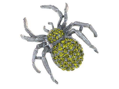 Alilang Vintage Inspired Repro Peridot Crystal Rhinestone Spider Fashion Jewelry Pin Brooch]()