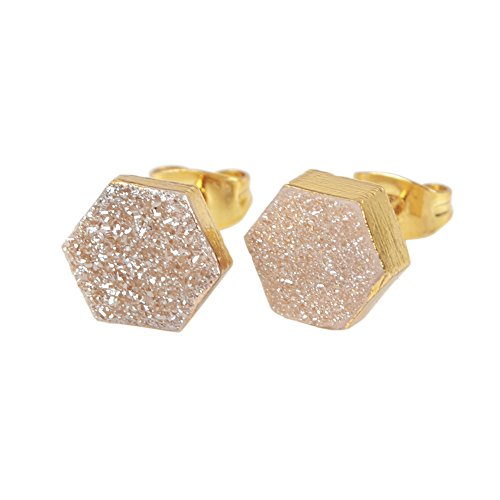 JAB 1 Pair 8mm Hexagon Gold Plated Natural Agate Titanium Rainbow Druzy Post Stud Earrings (Agate Gold Earrings)