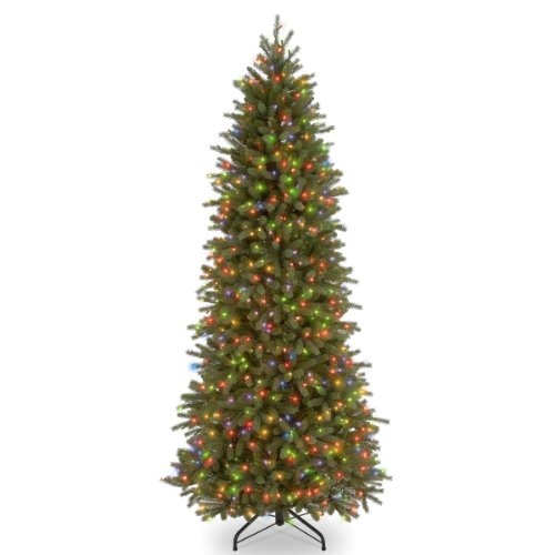 National Tree 7.5 Foot Feel Real Jersey Fraser Fir Pencil Slim Tree with 650 Multicolor Lights, Hinged (PEJF1-363-75)