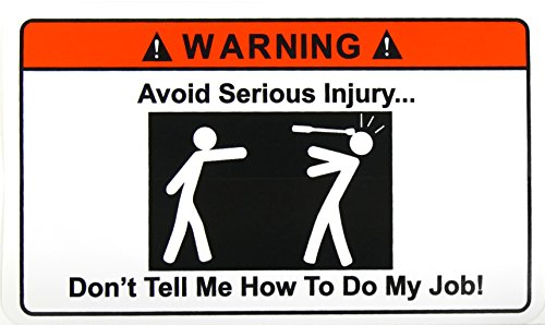Avoid Injury Warning Sticker, Decal, Funny, Adult Work Office